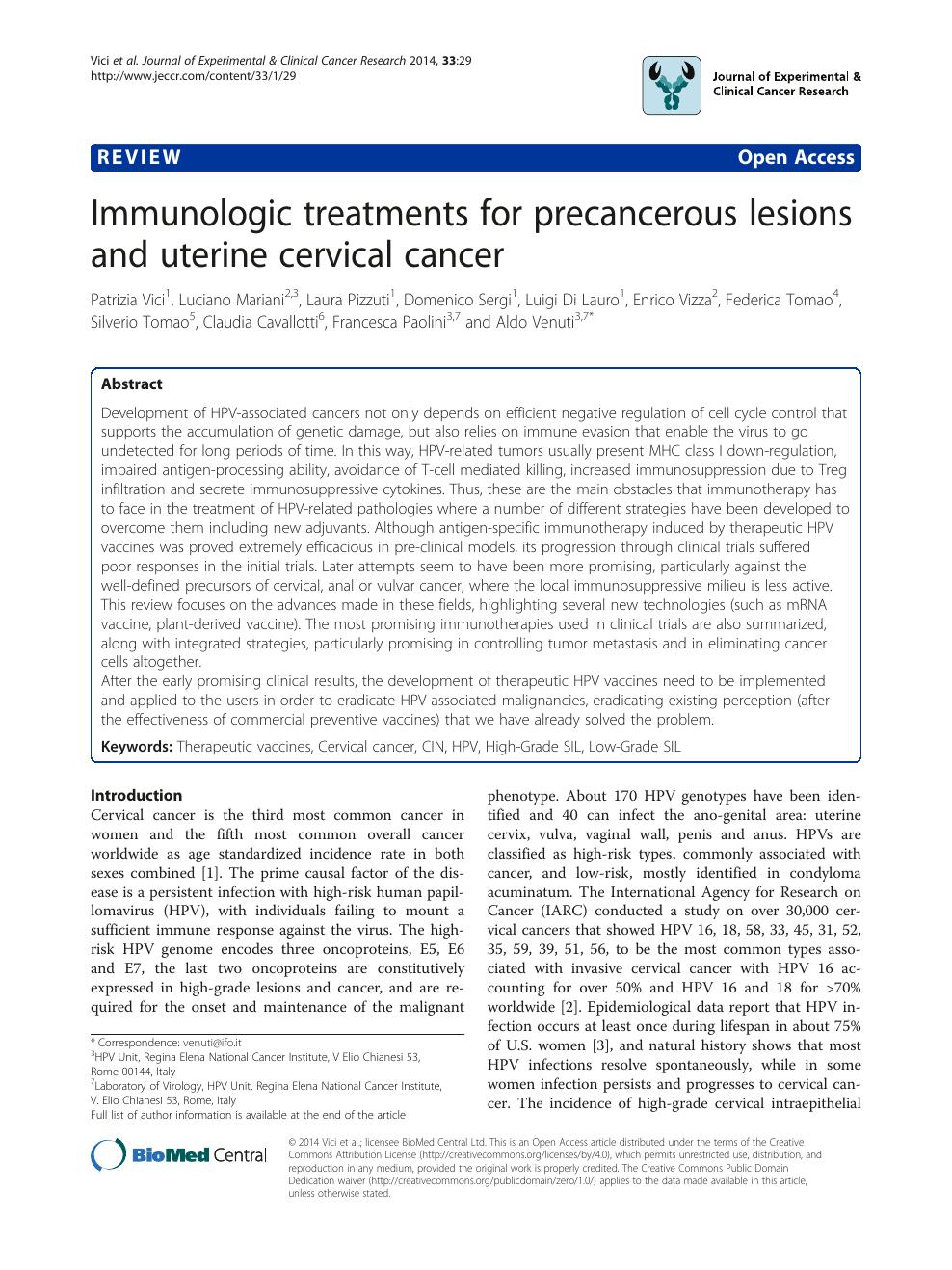 hpv precancerous lesion treatment