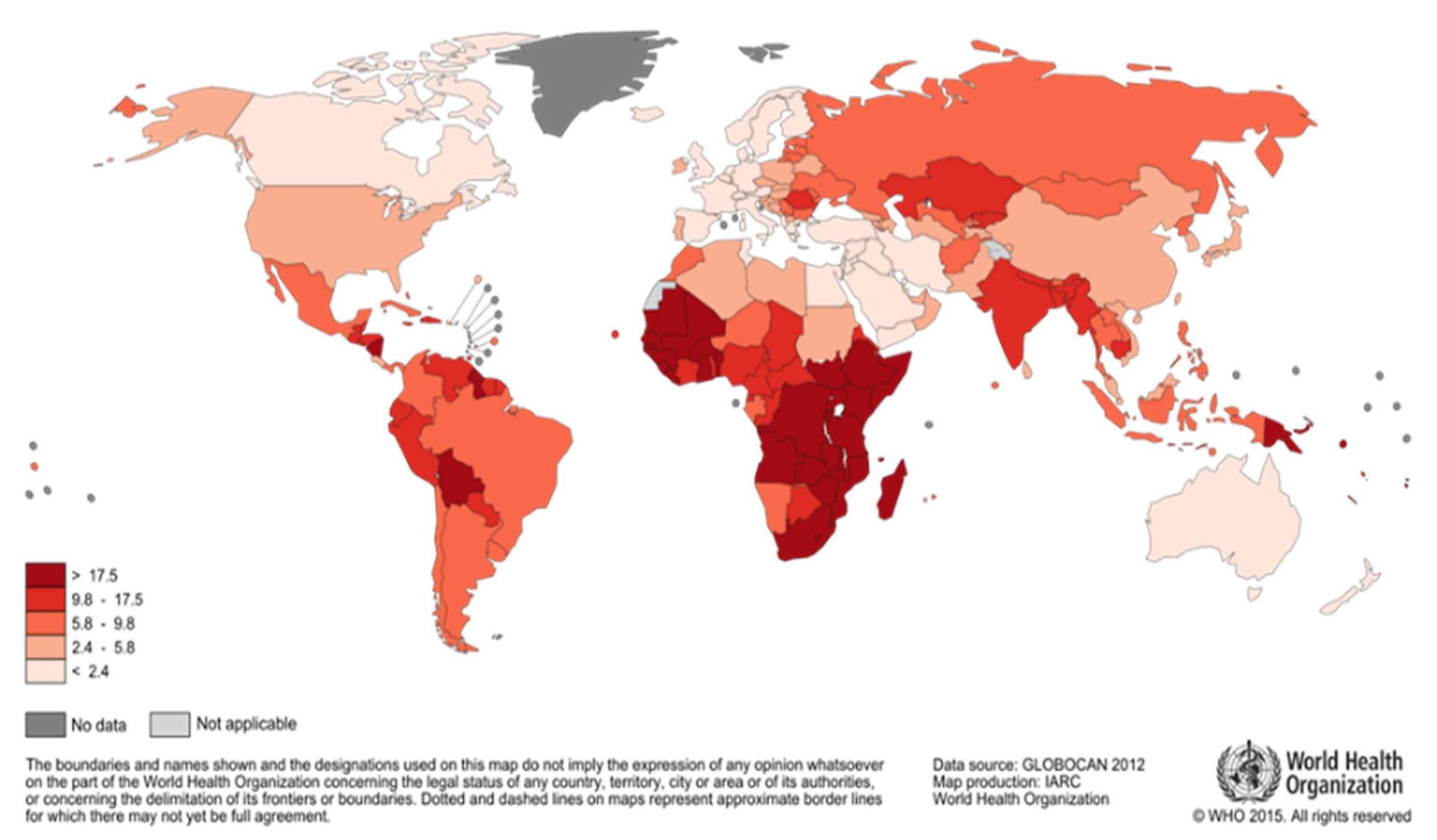 cervical cancer incidence worldwide frottis pour papillomavirus