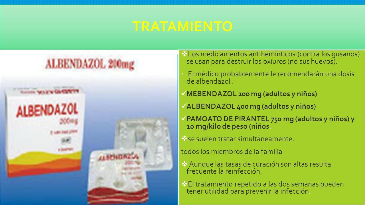 tratamiento de oxiuros con albendazol